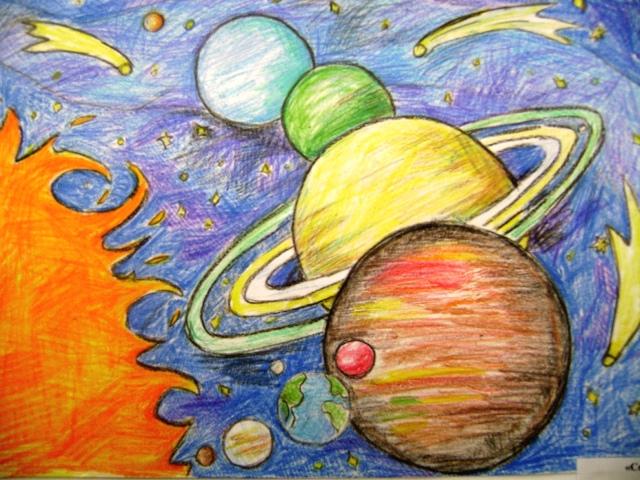Космос рисунок своими руками фото 643